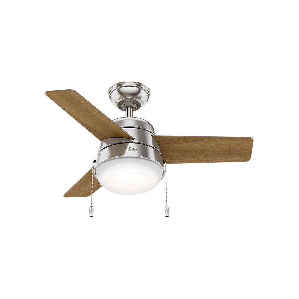 Hunter Aker 36 in. LED Indoor Brushed Nickel Ceiling Fan with Light