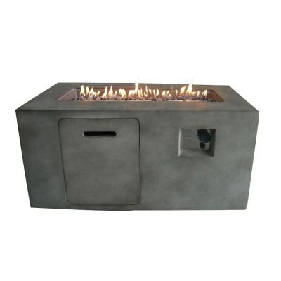 41.7 in. W x 23.2 in. H Rectangular Cement Gas Fire Pit in Gray with Lava Rocks and Control Panel