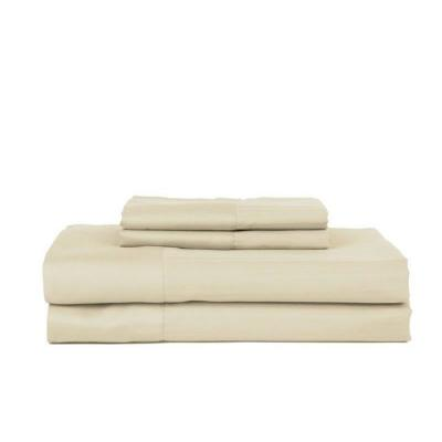 4-Piece Ivory Striped 450 Thread Count Cotton King Sheet Set