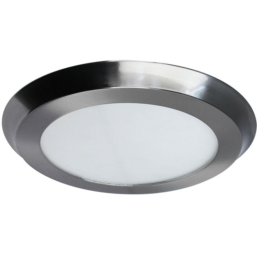 Home Decorators Collection 22 Watt 15 In Nickel Integrated Led Flat Round Panel Flushmount
