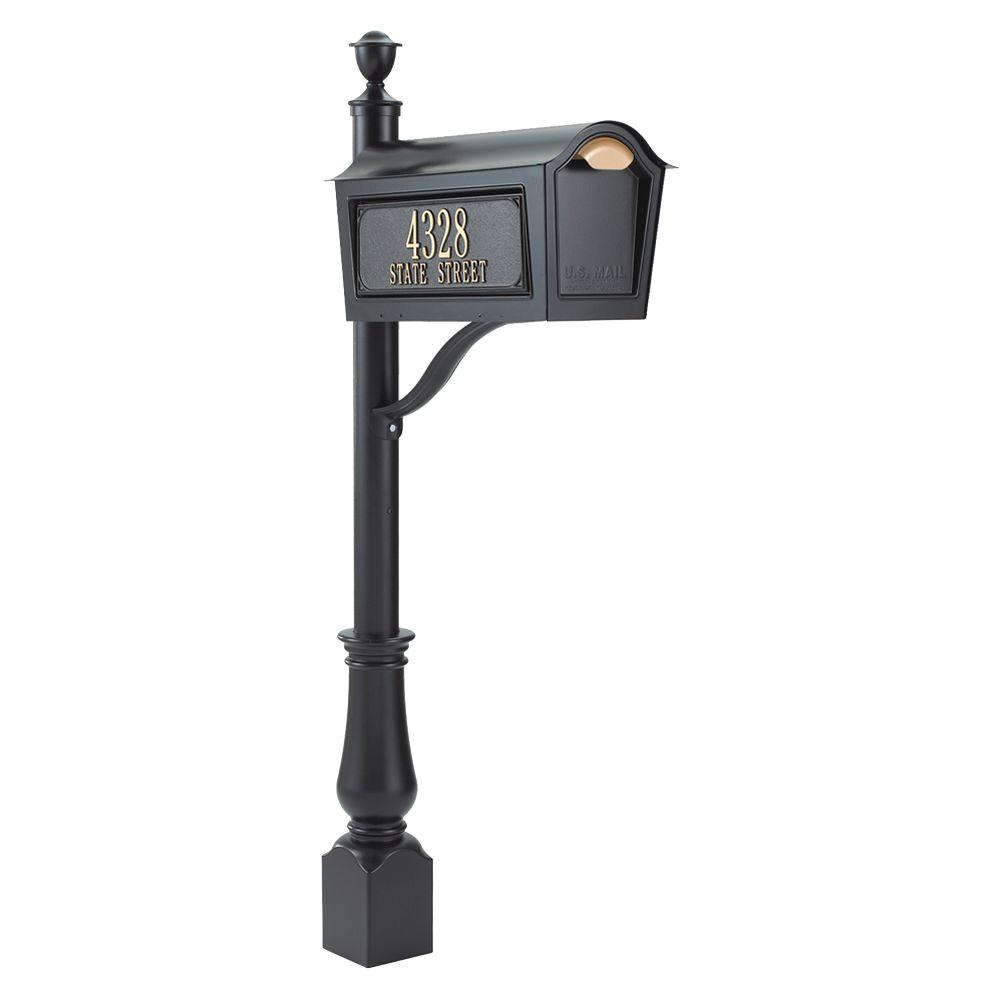 Whitehall Products Standard Chalet Mailbox Package in Black