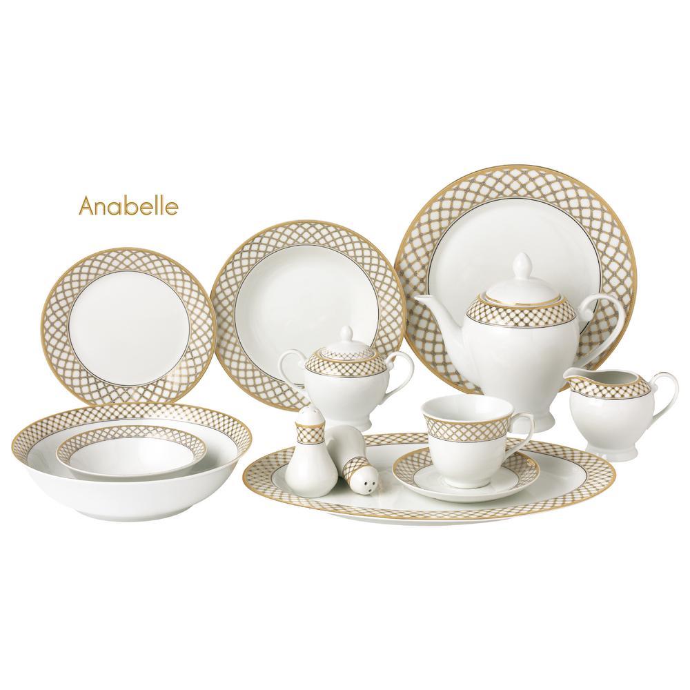 Lorren Home Trends 57 Piece Gold Border Porcelain Dinnerware Set