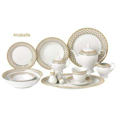 eecbe01c41ca7 57-Piece Gold Border Porcelain Dinnerware Set. 57-Piece Gold Border Porcelain  Dinnerware Set · Lorren Home Trends ...