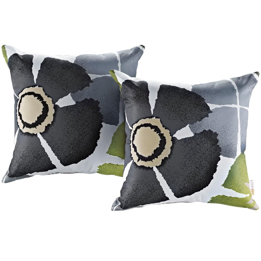MODWAY Patio Square Outdoor Throw Pillow Set in Botanical (2-Piece)
