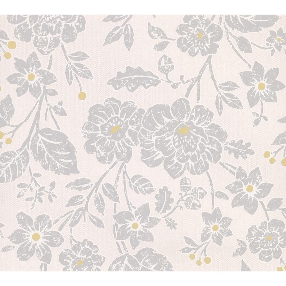Advantage Bourdain Light Grey Floral Wallpaper 2813-M1348