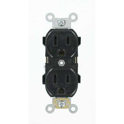 15 Amp Industrial Grade Heavy Duty Self Grounding Duplex Outlet, Black