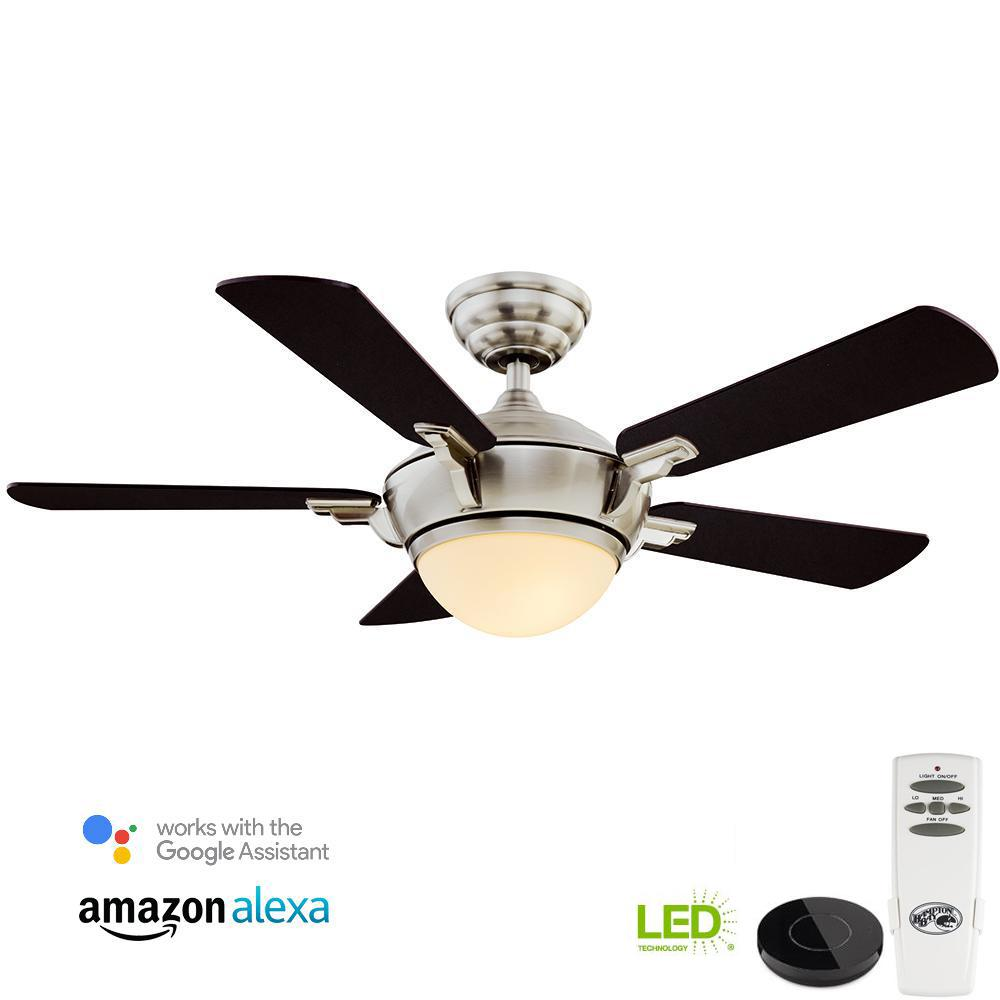 Hampton Bay Midili 44 in. LED Brushed Nickel Ceiling Fan with Light Kit Works with Google Assistant and Alexa