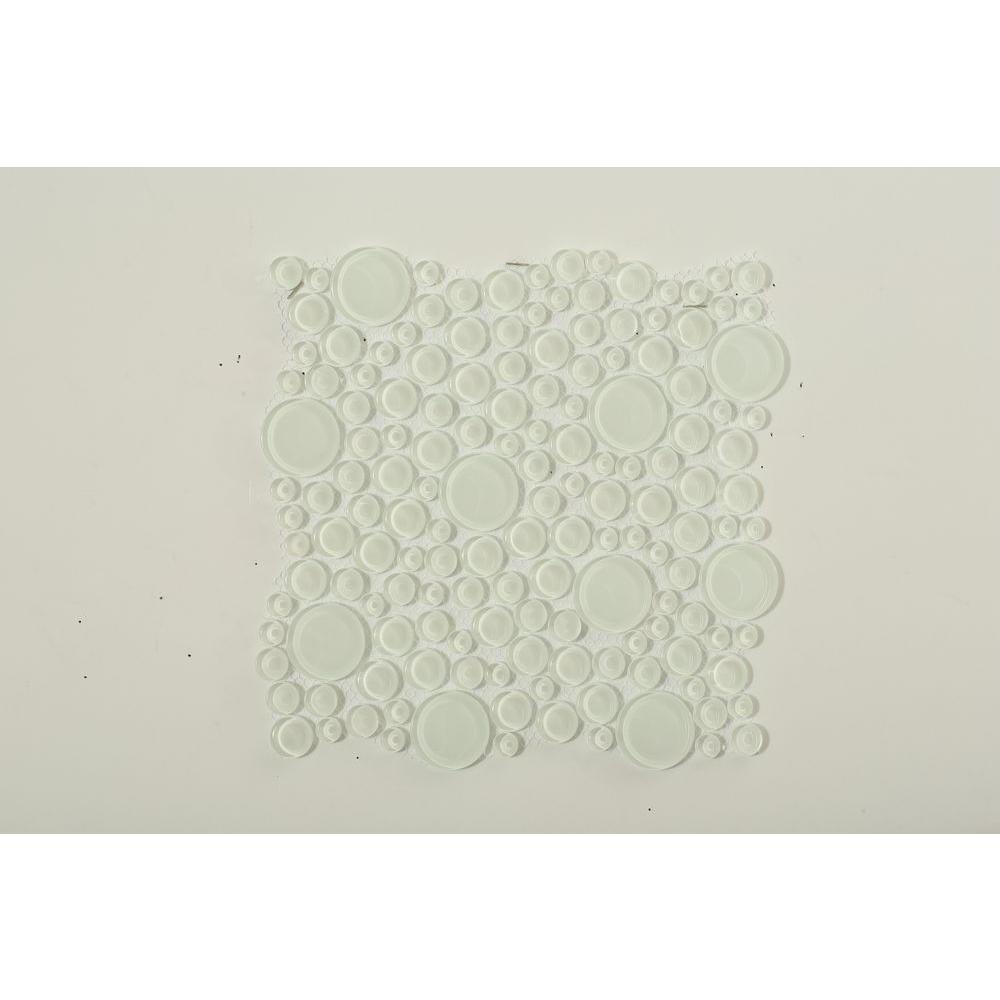 Splashback Tile Contempo Bright White Circles 12 in. x 12 in. x 8 mm Glass Floor and Wall Tile