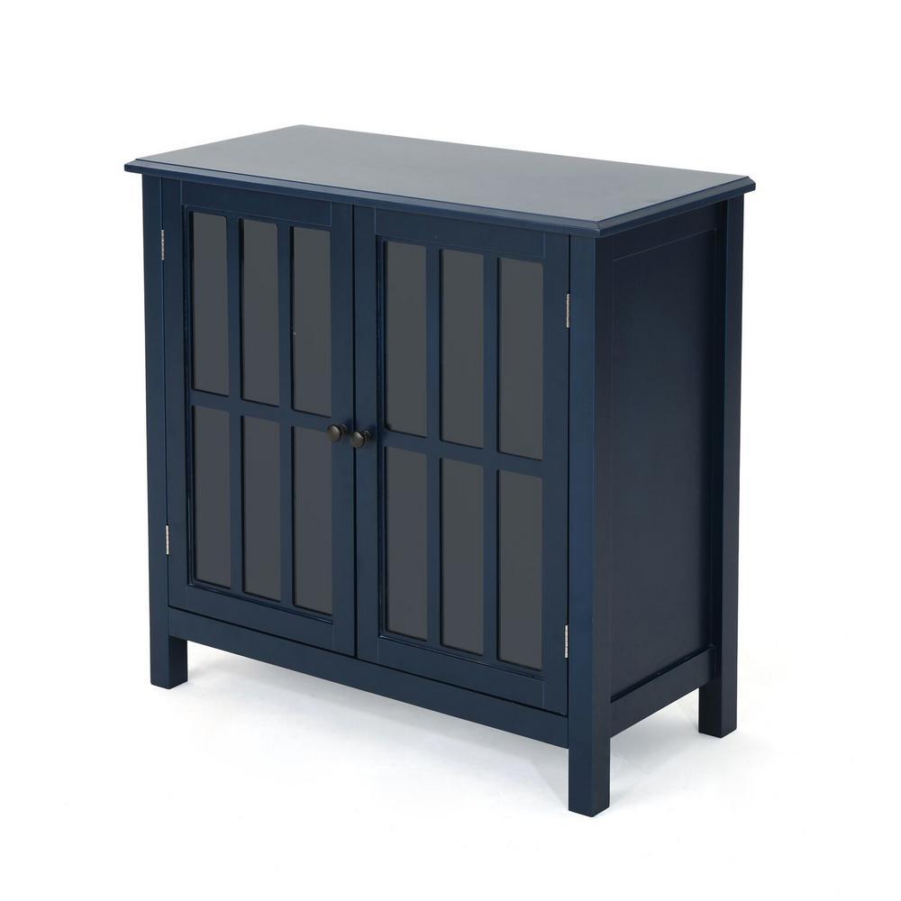 Dark Blue Cabinet with 2 Glass Doors