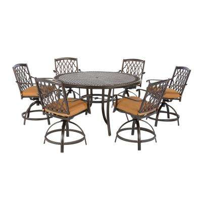 Ridge Falls 7-Piece Dark Brown Aluminum Outdoor Patio High Dining Set with Sunbrella Canvas Cork Tan Cushions
