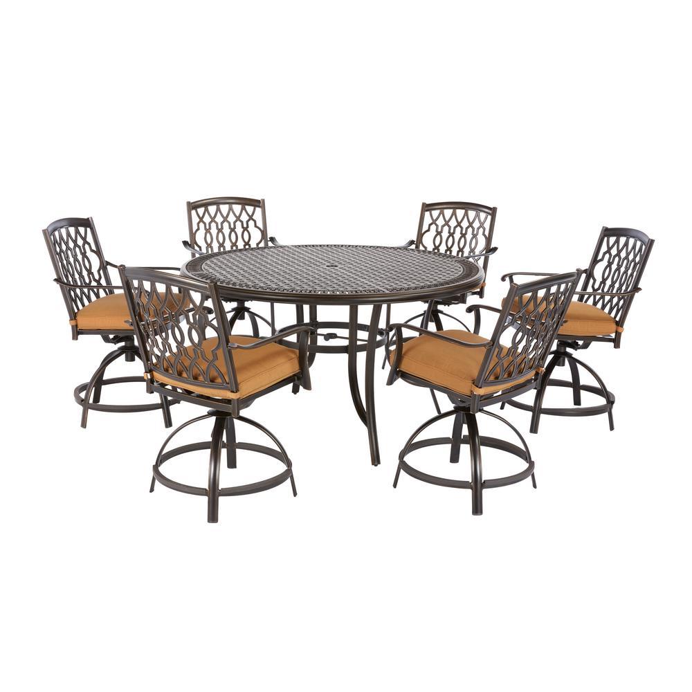 Ridge Falls 7-Piece Dark Brown Aluminum Outdoor Patio Dining Set with Sunbrella Canvas Cork Tan Cushions