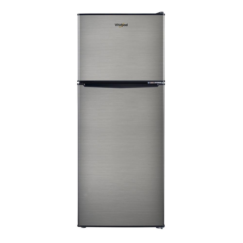 4.6 Cu. Ft. Mini Refrigerator with Dual Door True Freezer in Stainless Look