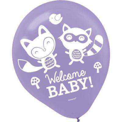 12 in. Blue Woodland Welcome Baby Shower Latex Balloons (15-Count, 5-Pack)