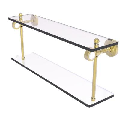 Pacific Grove 22 in. 2-Tiered Glass Shelf in Satin Brass