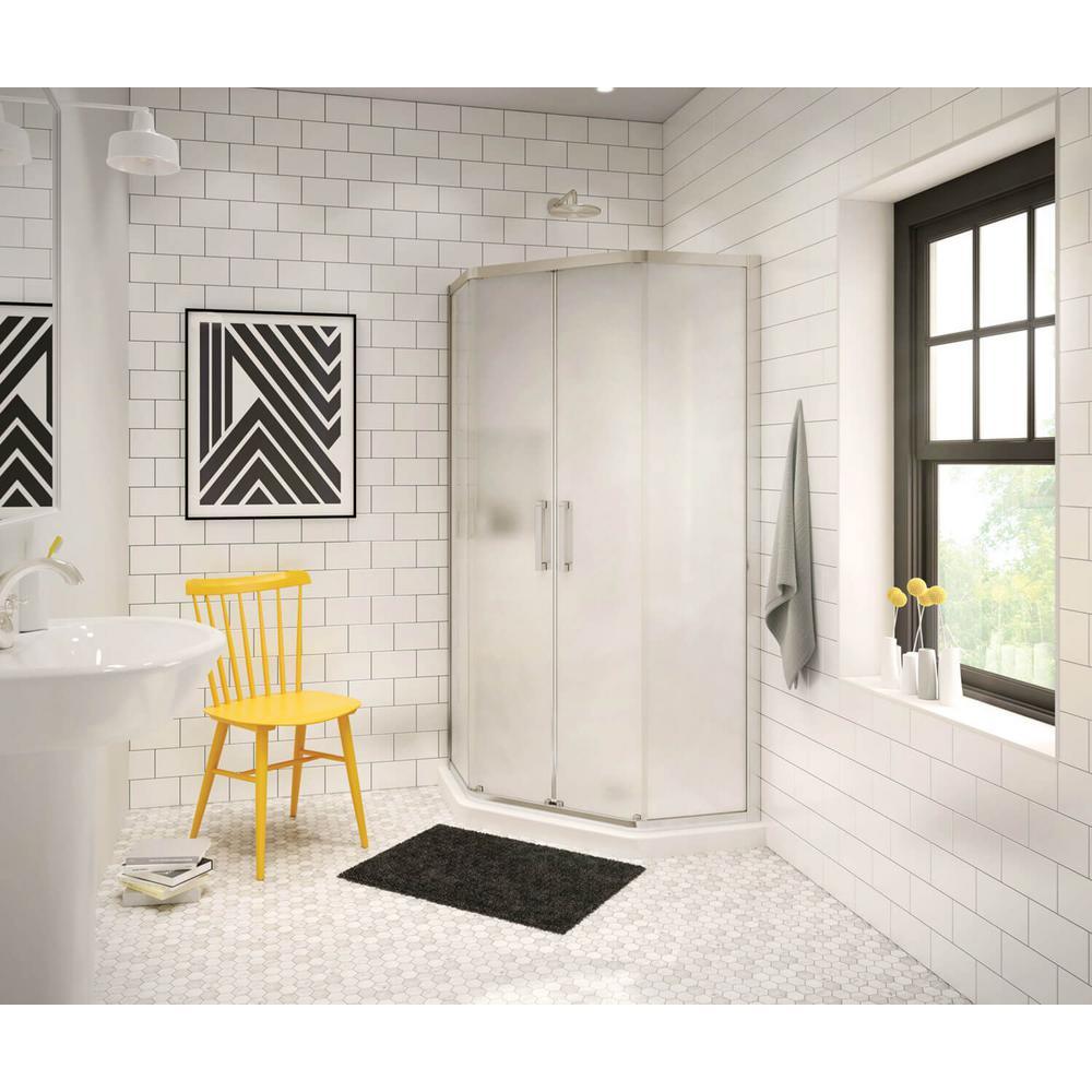 Radia 38 in. x 38 in. x 71-1/2 in. Frameless Neo-Angle Sliding Shower Door with Mistelite Glass in Brushed Nickel