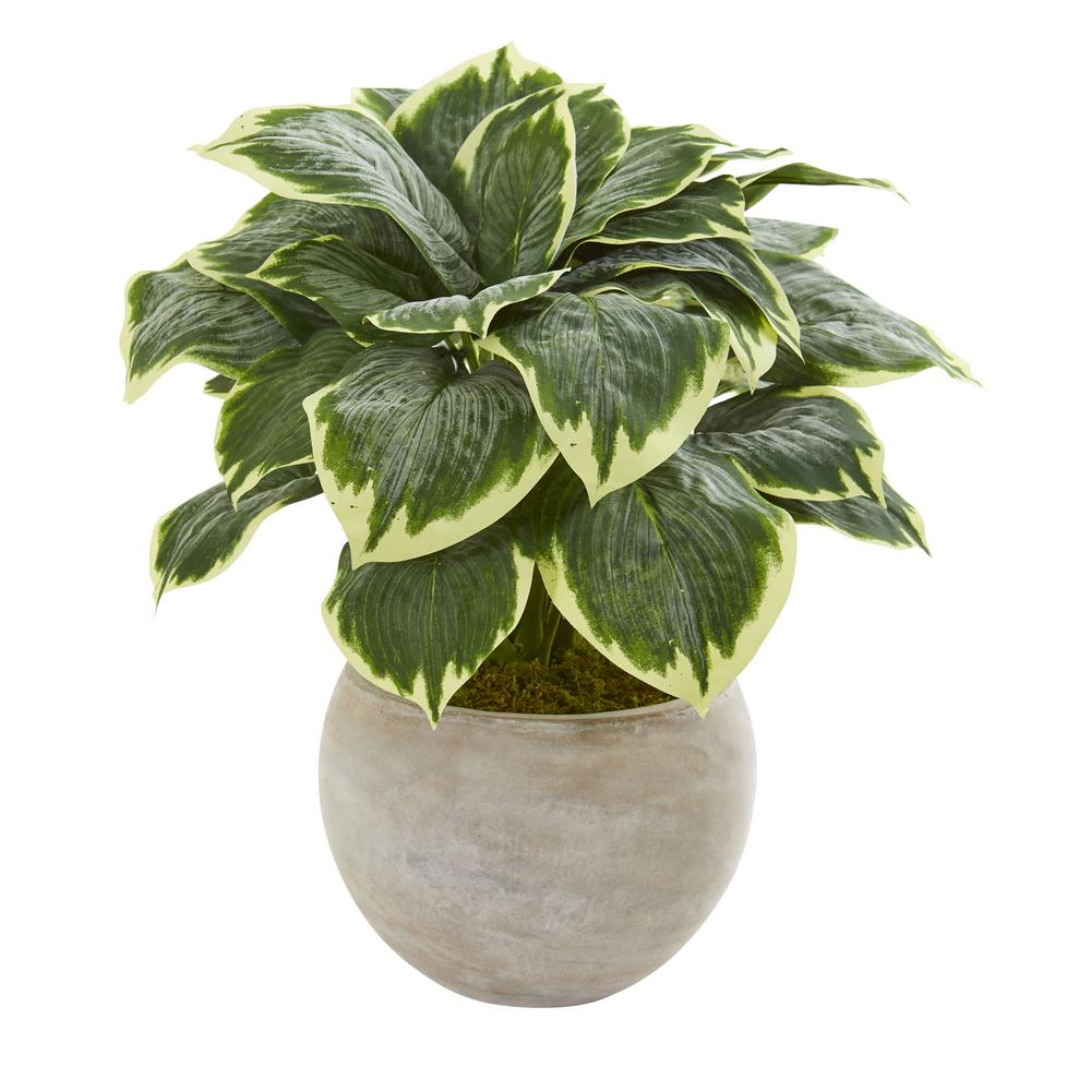 Indoor 26 In Variegated Hosta Artificial Plant In Sand Colored Bowl