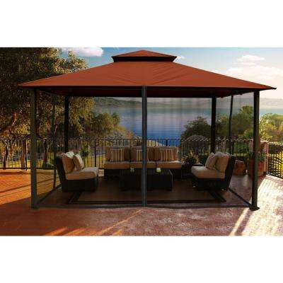 Paragon-Outdoor Gazebo 11 ft. x 14 ft. with Rust Color Sunbrella Top and Mosquito Netting
