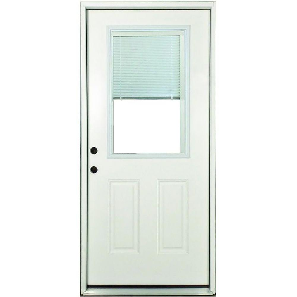 Steves & Sons 32 in. x 80 in. Premium Right-Hand 1/2-Lite Mini Blind Primed White Steel Prehung Front Door