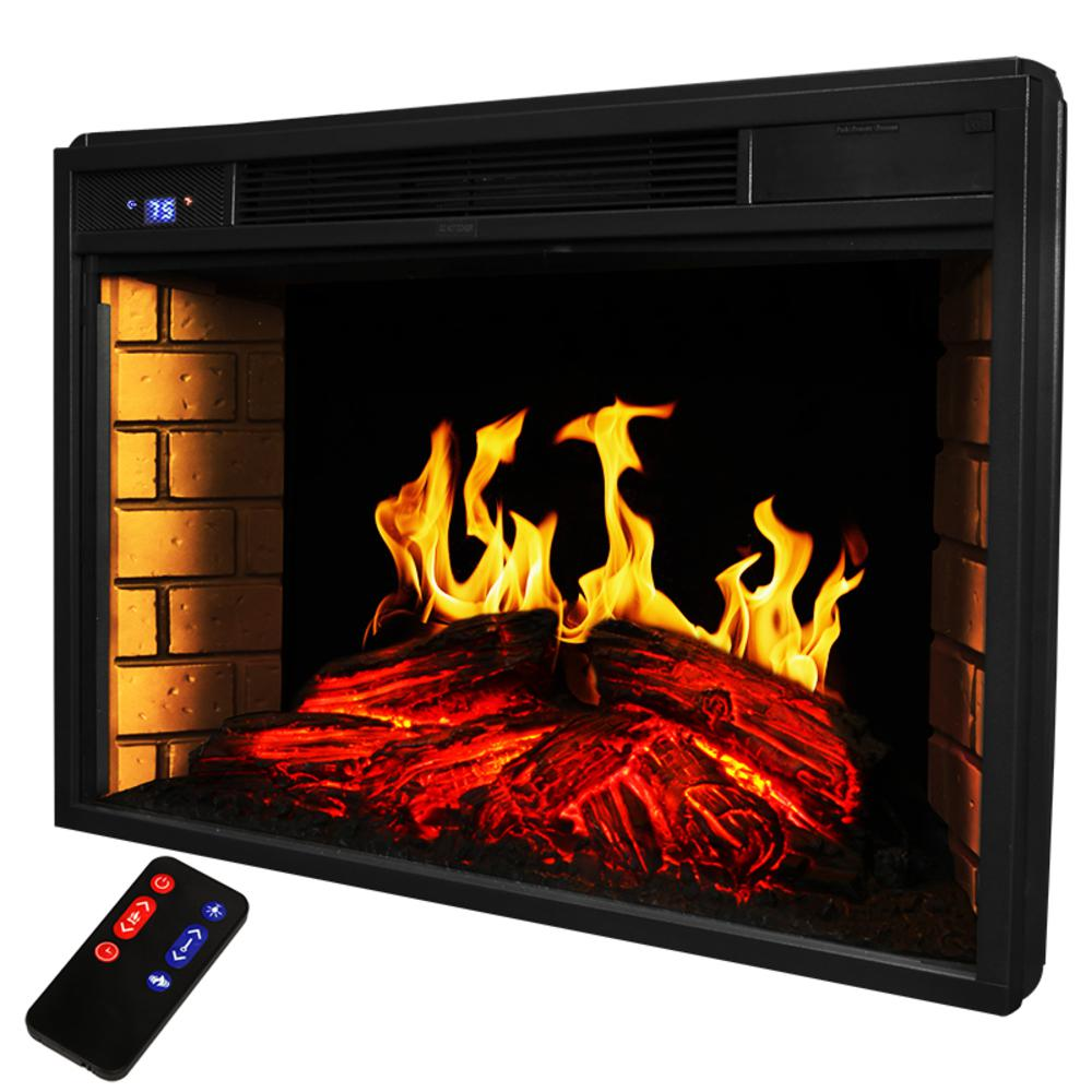 Fine Xtremepowerus 33 In 1400 Watt Black Electric Firebox Fireplace Heater Insert Glass Panel With Remote Control Download Free Architecture Designs Barepgrimeyleaguecom