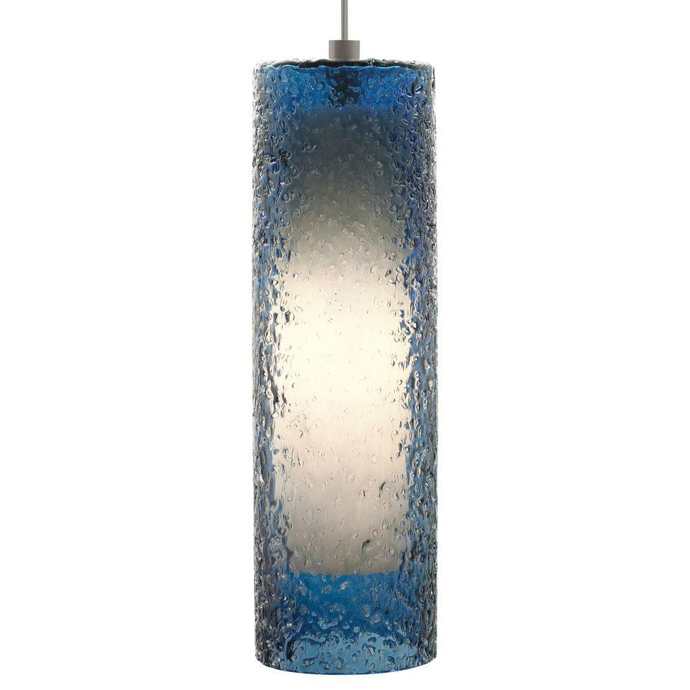 LBL Lighting Rock Candy 1-Light Bronze Steel Pendant with Blue Cylinder Shade