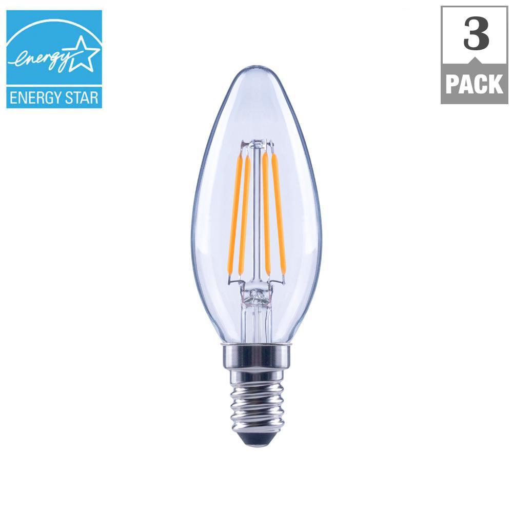 EcoSmart 40-Watt Equivalent B11 E12 Base Dimmable Clear Filament ...