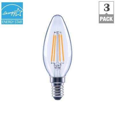 40-Watt Equivalent B11 E12 Base Dimmable Clear Filament LED Light Bulb, Daylight (3-Pack)