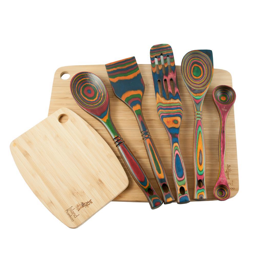 Rainbow Pakka Utensil and Cutting Board 7-Piece Set