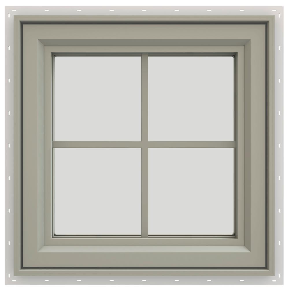 23.5 in. x 23.5 in. V-4500 Series Left-Hand Casement Vinyl Window with Grids - Tan