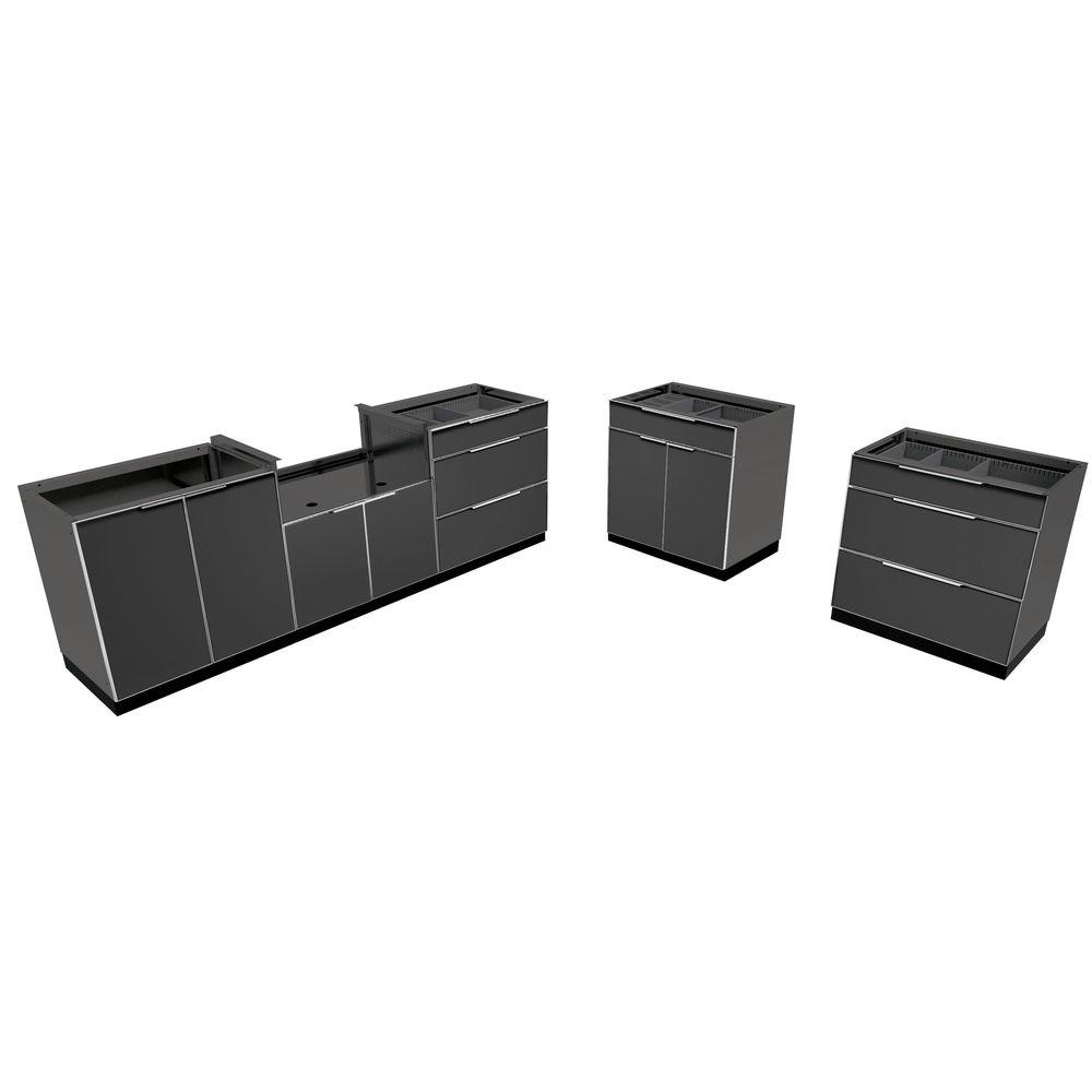 Aluminum Slate 5-Piece 184x36x24 in. Outdoor Kitchen Cabinet Set without Counter