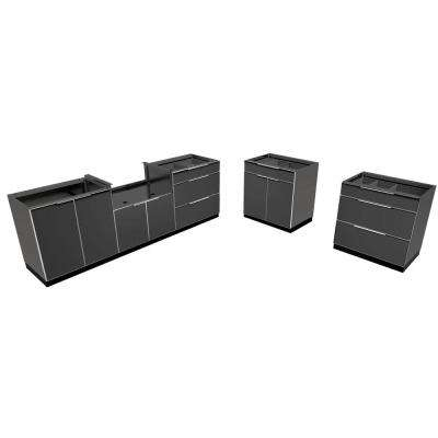 Aluminum Slate 5-Piece 184x36x24 in. Outdoor Kitchen Cabinet Set without Counter Tops