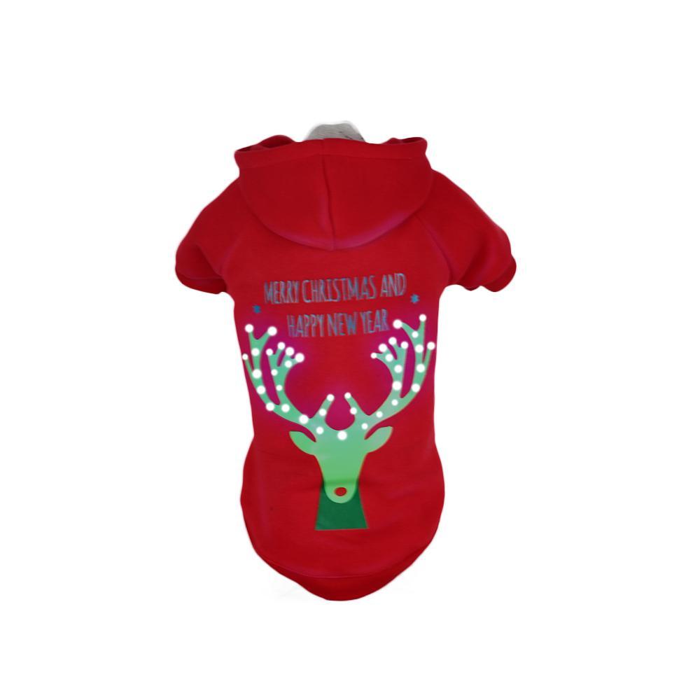 Medium Red Deer LED Lighting Christmas Reindeer Hooded Sweater Pet Hoodie