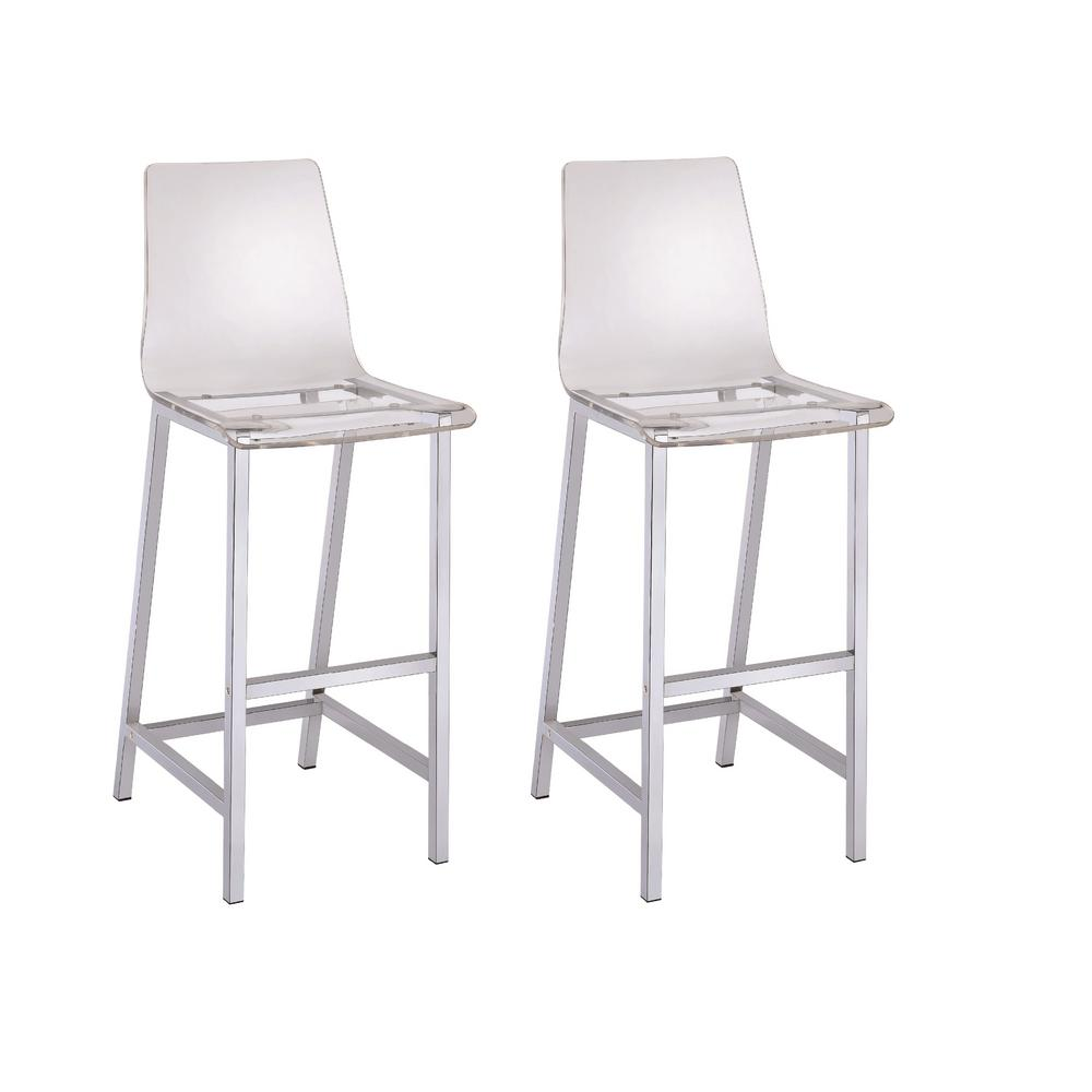 Coaster Everyday 30 In Clear And Chrome Acrylic Bar Stool Set Of 2