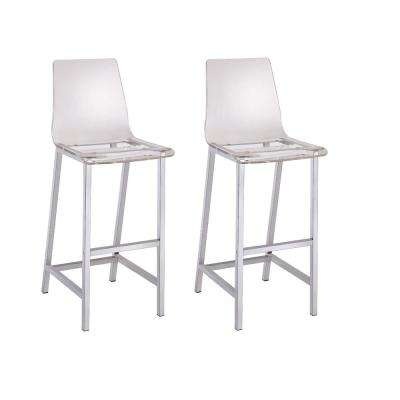 Everyday 30 in. Clear and Chrome Acrylic Bar Stool (set of 2)