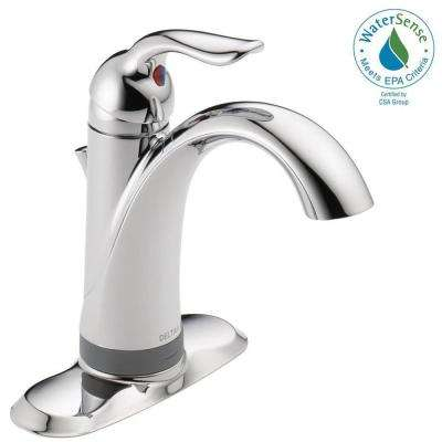 lahara single hole single handle bathroom faucet with touch2oxt technology in chrome - Delta Bath Faucets Home Depot