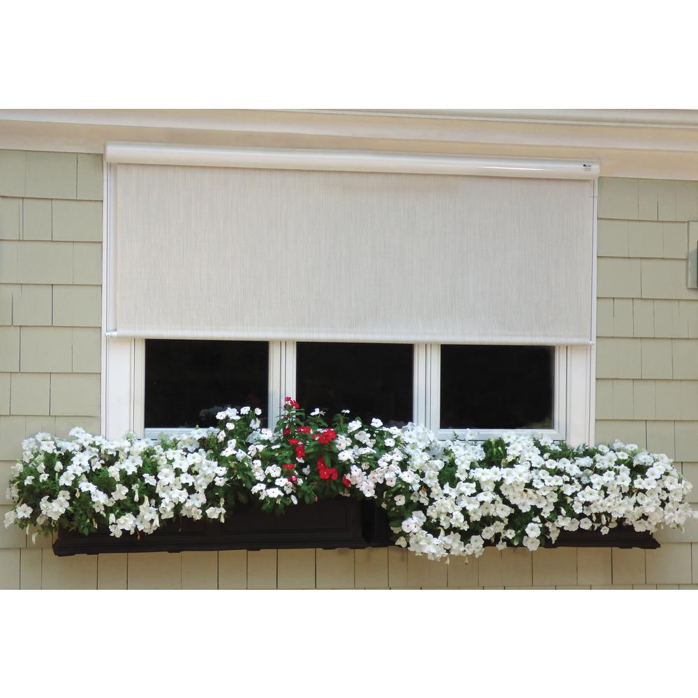 Cream Vinyl Exterior Solar Shade Right Motor with Full White Cassette