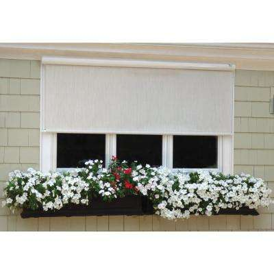 Desert Sand Corded Light Filtering Motorized Vinyl Exterior Solar Shade Right Motor White Cassette 144 in. W x 84 in. L