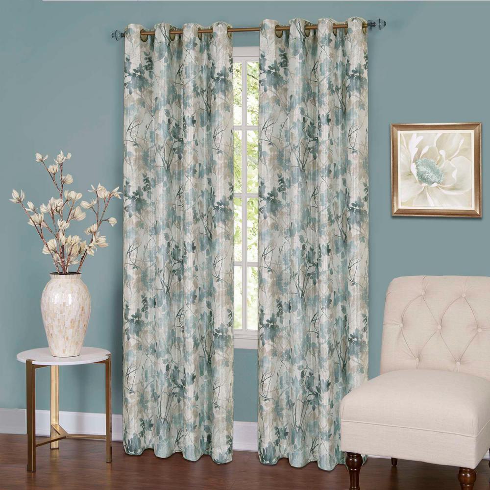 Tranquil Mist Lined Grommet Window Curtain Panel - 50 in. W x 63 in. L
