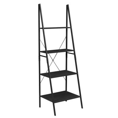 72 in. Black Wood 4-shelf Ladder Bookcase with Open Back