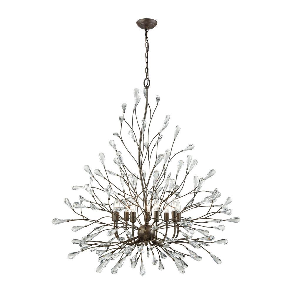 Crislett 9-Light Sunglow Bronze with Clear Crystal Chandelier