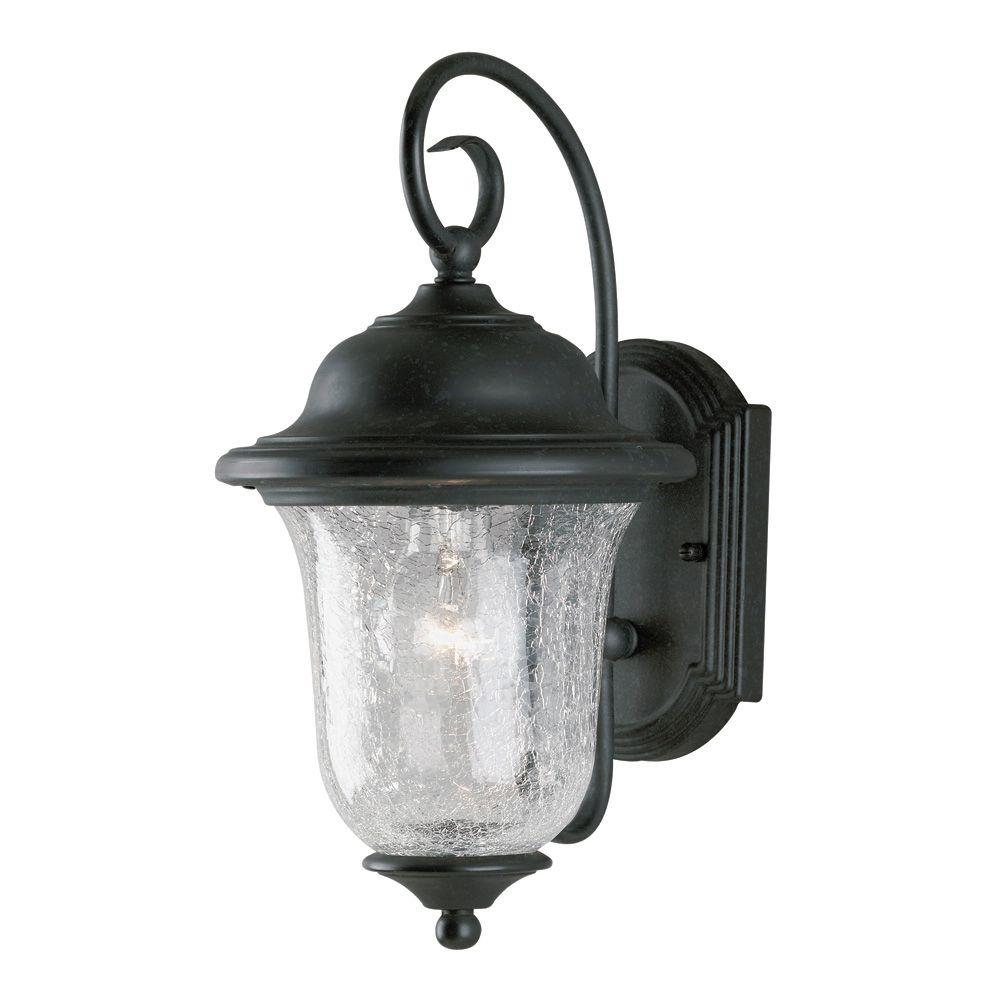 Westinghouse 1-Light Vintage Bronze Steel Exterior Wall Lantern with Clear Crackle Glass