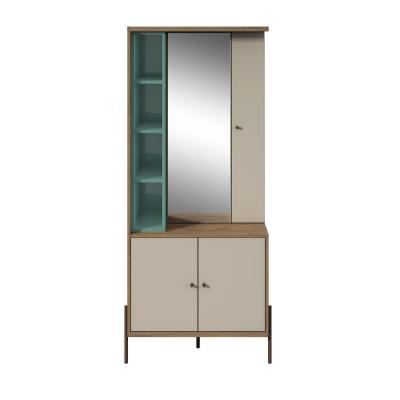 Manhattan Comfort Joy Blue and Off White Vanity Jewelry Armoire with Mirror, Blue/Off White/And Oak