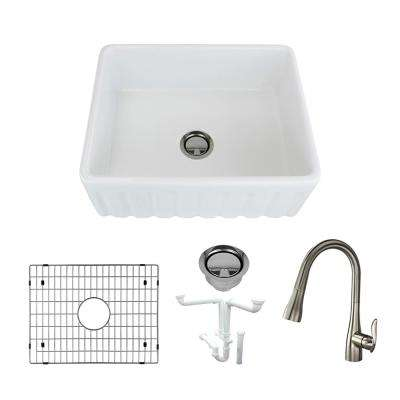 Logan All-in-One Farmhouse/Apron-Front Fireclay 24 in. Single Bowl Kitchen Sink with Faucet in White
