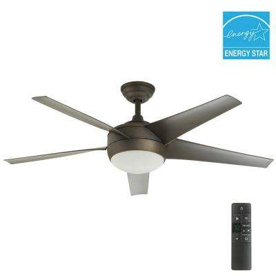 Windward IV 52 in. Indoor Oil Rubbed Bronze Ceiling Fan with Light Kit and Remote Control