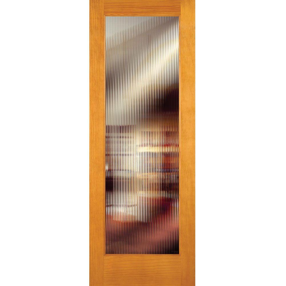 Feather River Doors 28 In X 80 Reed Woodgrain 1 Lite Unfinished Pine Interior Door Slab