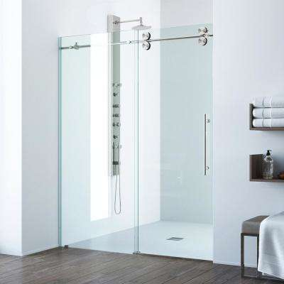 Elan 48 in. x 74 in. Frameless Sliding Shower Door in Stainless Steel with Clear Glass