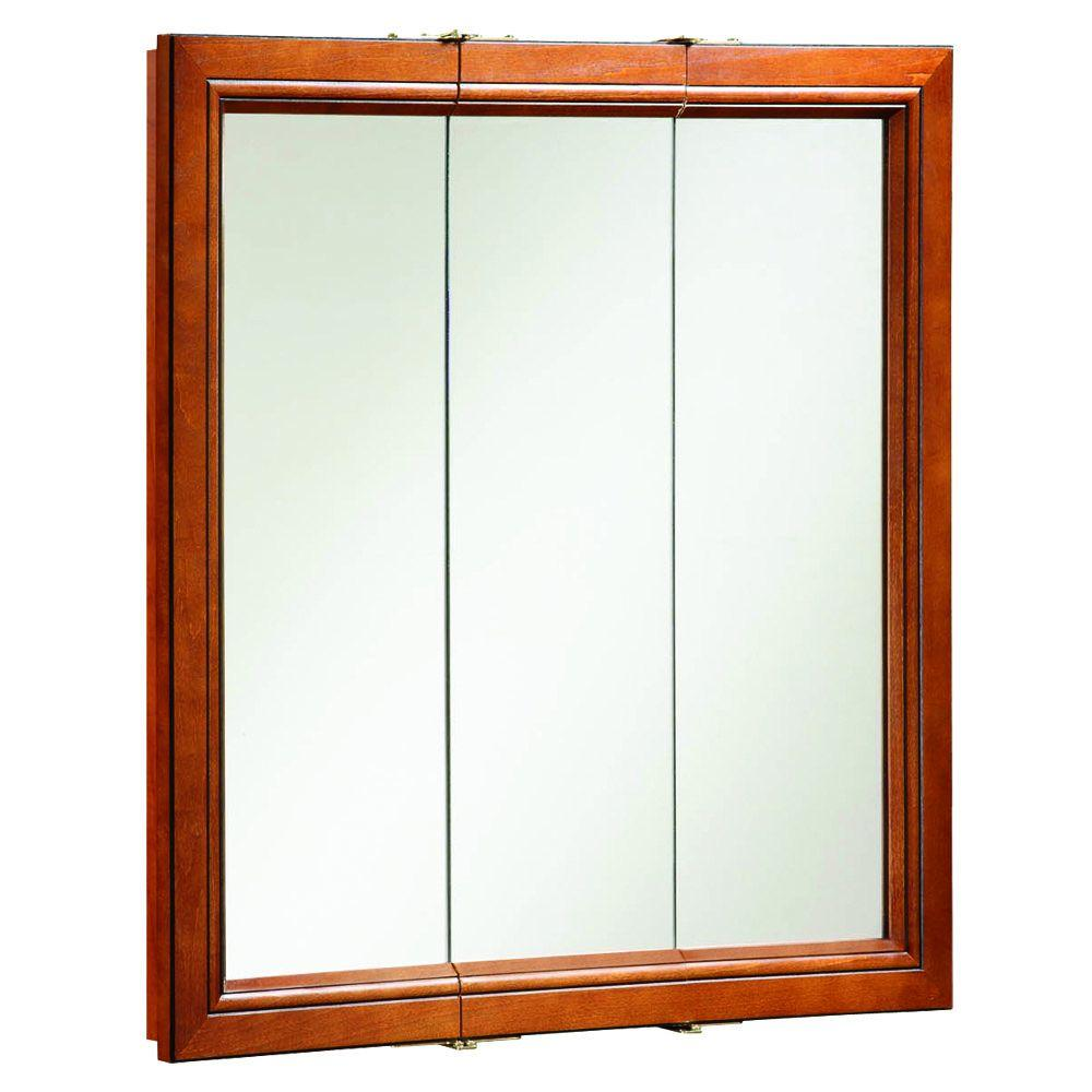 Design House Montclair 30 in. W x 30 in. H x 6 in. D Framed Surface-Mount Tri-View Bathroom Medicine Cabinet in Chestnut Glaze