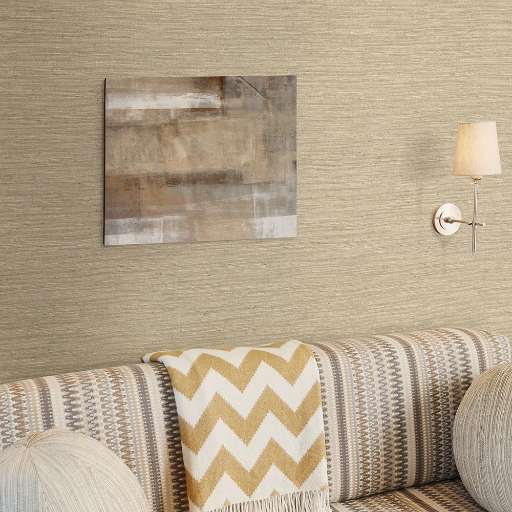 Bennie Taupe Faux Grasscloth Wallpaper Sample