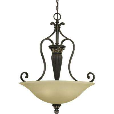 Bristol 3-Light Vintage Bronze with Antique Gold Interior Pendant