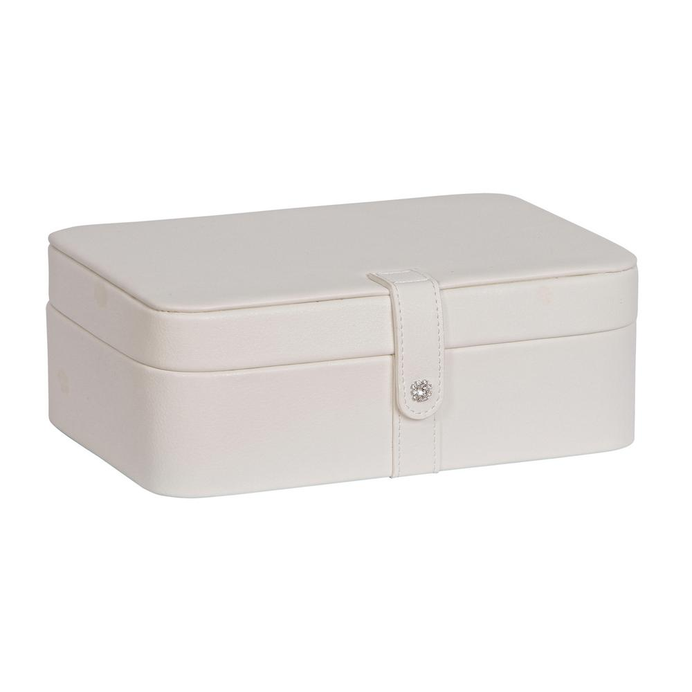 Lila Ivory Faux Leather Jewelry Box