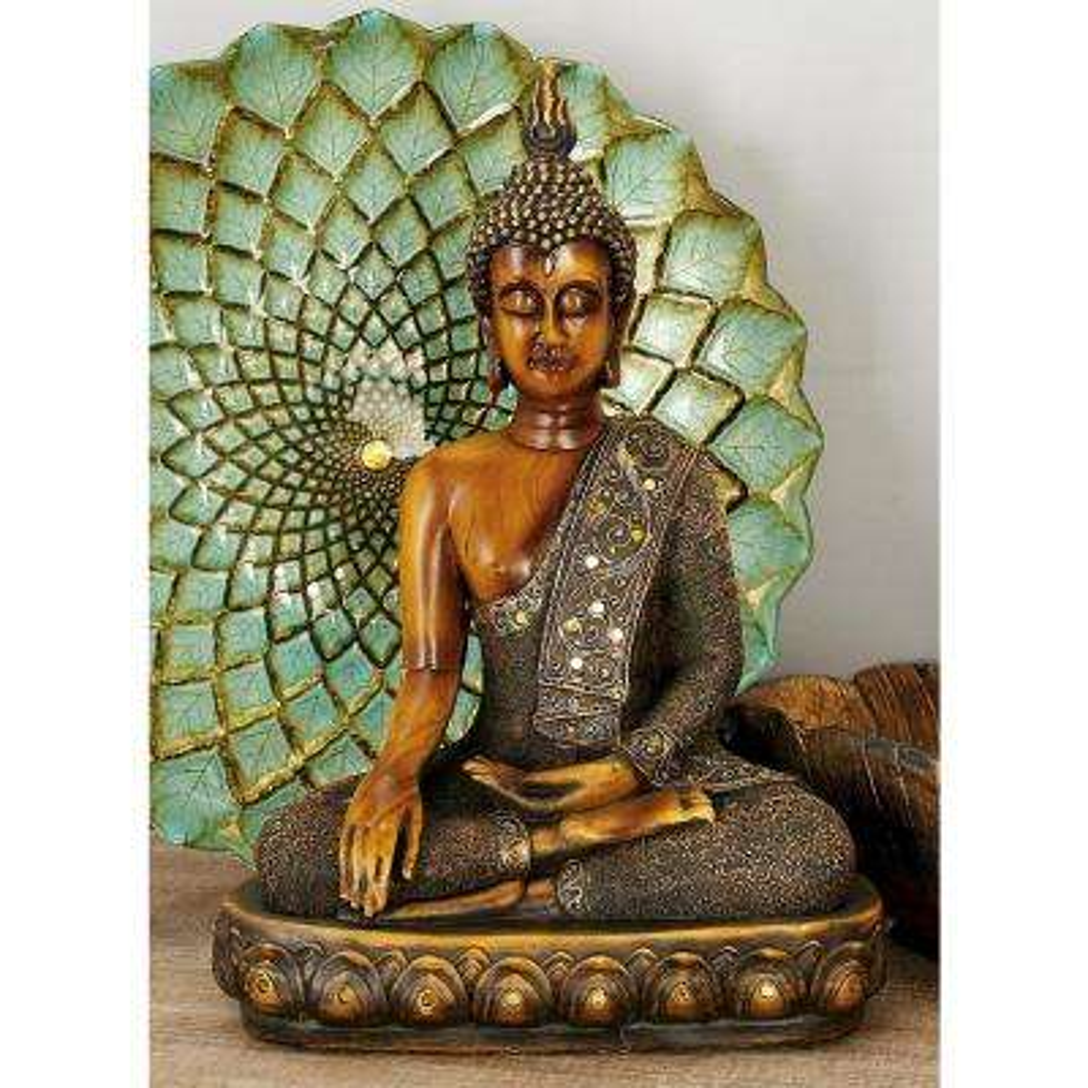 Polystone Sitting Buddha Sculpture on Oval Base